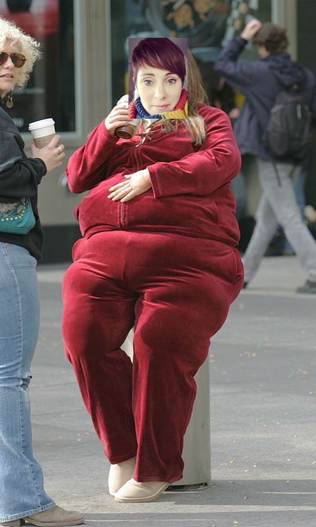 Vanessa Minnillo wearing a 350lb fat suit in NYC